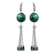 Серебряные серьги Joli с малахитом и зелеными фианитами