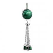 Серебряный кулон Joli с малахитом и зелеными фианитами