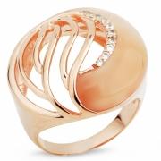 Серебряное кольцо с тигровым (кошачьим) глазом и фианитами