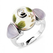 Серебряное кольцо с акрилом и тигровым (кошачьим) глазом