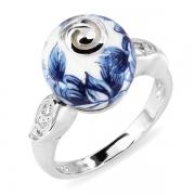 Серебряное кольцо с акрилом и фианитами