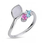 Серебряное кольцо Joli с перламутром и цветными фианитами
