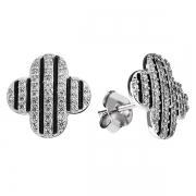 Серебряные серьги L.A. Crystal с белыми и черными фианитами