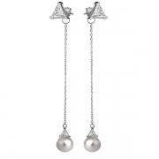 Серебряные серьги De Luna с жемчугом и фианитами