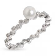 Серебряное кольцо Sandara Ice с иск. жемчугом и фианитом