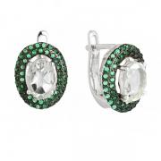 Серебряные серьги Sandara с зеленым аметистом и фианитами