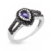 Серебряное кольцо Sandara с иолитом и фианитами