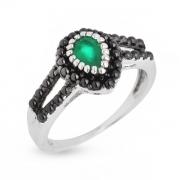 Серебряное кольцо Sandara с агатом и фианитами