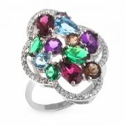 Серебряное кольцо Sandara с аметистом, родолитом, топазом, кварцем, наноизумрудом и фианитом