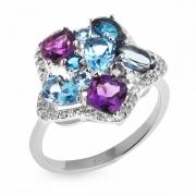 Серебряное кольцо Sandara с топазами, аметистами и фианитами