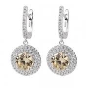 Серебряные серьги  L.A. Crystal с фианитом цвета «Желтый бриллиант» и фианитами