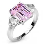 Серебряное кольцо Sandara Ice с фианитом цвета «Розовый бриллиант» и фианитами