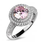 Серебряное кольцо L.A. Crystal с фианитом цвета «Розовый бриллиант» и фианитами