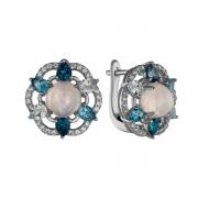 Серебряные серьги Sandara с лунным камнем ,топазами и фианитами