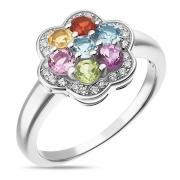 Серебряное кольцо Sandara с аметистом,перидотом,топазом,цитрином,гранатом и фианитами
