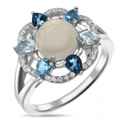 Серебряное кольцо Sandara с лунным камнем ,топазами и фианитами