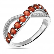 Серебряное кольцо Sandara с гранатом и фианитами