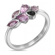 Серебряное кольцо Sandara с аметистами и фианитами