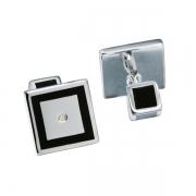 Серебряные запонки Hot Diamonds с бриллиантами, ониксом и эмалью