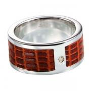 Мужское серебряное кольцо Hot Diamonds с бриллиантом и кожей