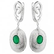 Серебряные серьги Sandara с зеленым агатом и фианитами