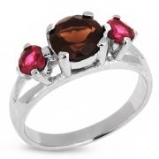 Серебряное кольцо Sandara с дымчатым кварцем и родолитом