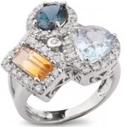 Серебряное кольцо Sandara с цитрином, топазом и фианитами