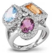 Серебряное кольцо Sandara с аметистом, цитрином, топазом и фианитами