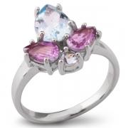 Серебряное кольцо Sandara с топазом и аметистами