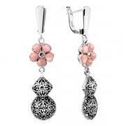 Серебряные серьги Sandara с розовыми опалами и марказитами