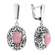 Серебряные серьги Sandara с розовыми опалами и родолитами