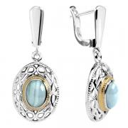 Серебряные серьги Sandara с голубыми агатами и позолотой