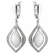Серебряные серьги Sandara с белыми агатами