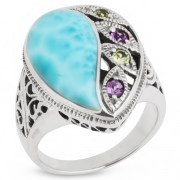 Серебряное кольцо Sandara c аметистом, перидотом и ларимаром