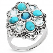 Серебряное кольцо Sandara c бирюзой и топазами