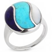 Серебряное кольцо Sandara c лазуритом, бирюзой и перламутром