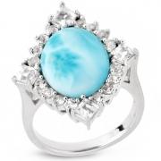Серебряное кольцо Sandara c ларимаром и белым топазом
