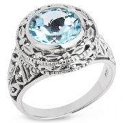 Серебряное кольцо Sandara c голубым топазом