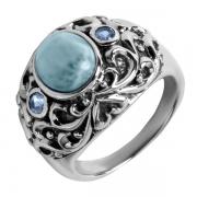 Серебряное кольцо Sandara с ларимаром и топазом