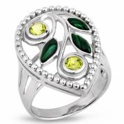 Серебряное кольцо Sandara с малахитом и перидотом