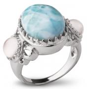 Серебряное кольцо Sandara с ларимаром и лунным камнем