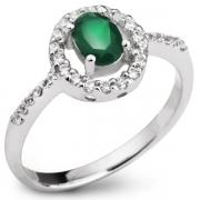 Серебряное кольцо Sandara с зеленым агатом