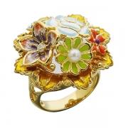 Серебряное кольцо Bonanza с эмалью, жемчугом и фианитами