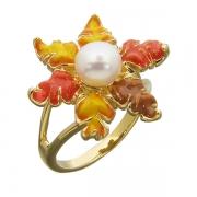 Серебряное кольцо Bonanza с эмалью и жемчугом