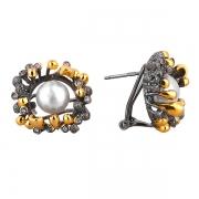 Серебряные серьги Sandara с жемчугом и фианитами