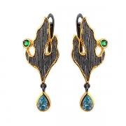 Серебряные серьги Sandara с голубыми фианитами и зеленой шпинелью