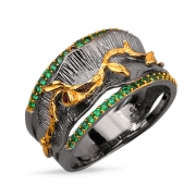 Серебряное кольцо Sandara с гранатом и зеленой шпинелью, позолотой