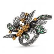 Серебряное кольцо Sandara с цитрином и зеленой шпинелью
