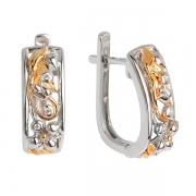 Серебряные серьги Joli с фианитом и позолотой