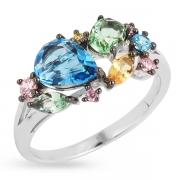 Серебряное кольцо с иск.топазом,аметистом,перидотом и кварцем